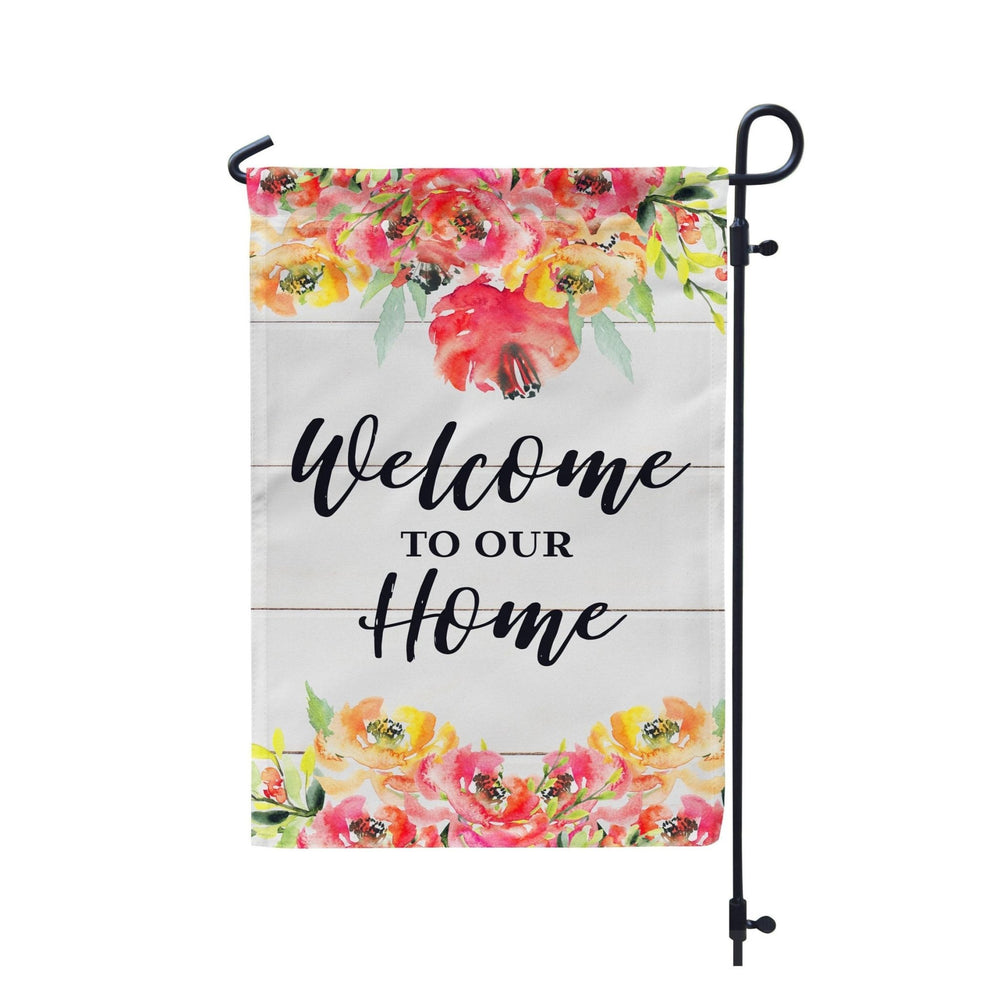 Welcome To Our Home Farmhouse Floral Garden Flag - Urban Owl