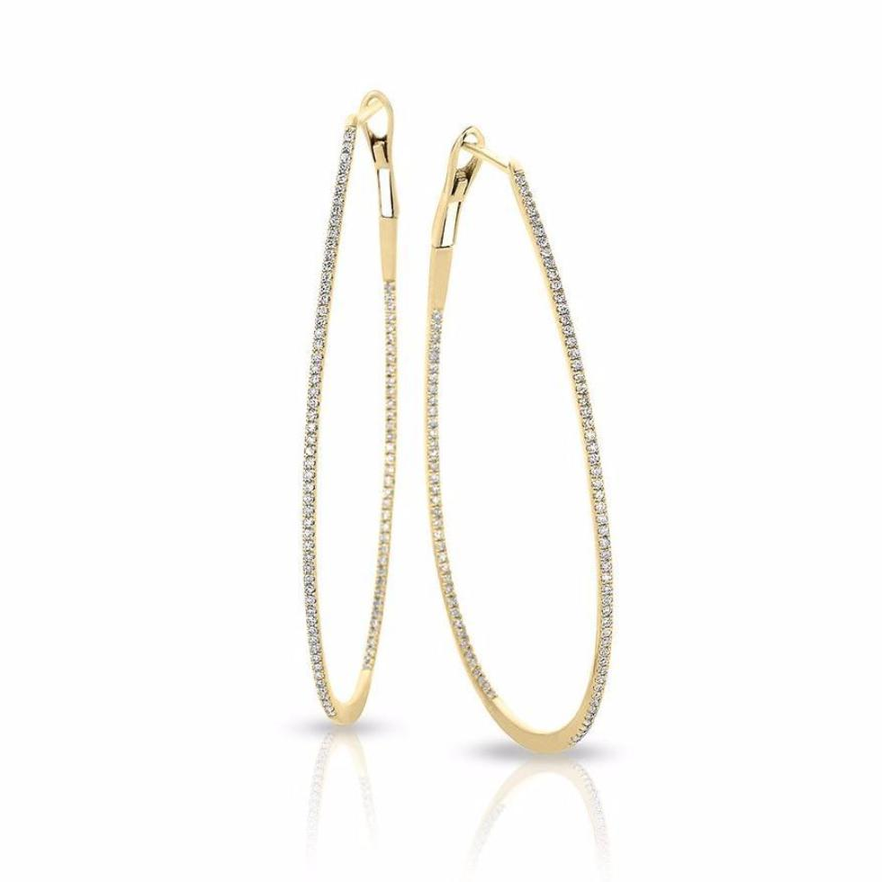 Diamond Tear Drop Hoop Earring