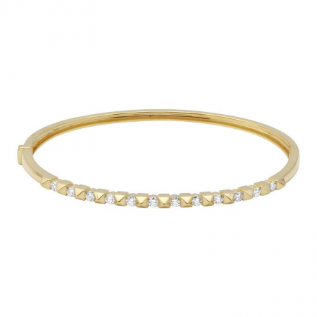 Alternating Diamond And Spike Partial Bangle Bracelet