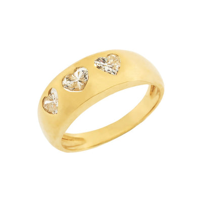Trio Diamond Heart Ring