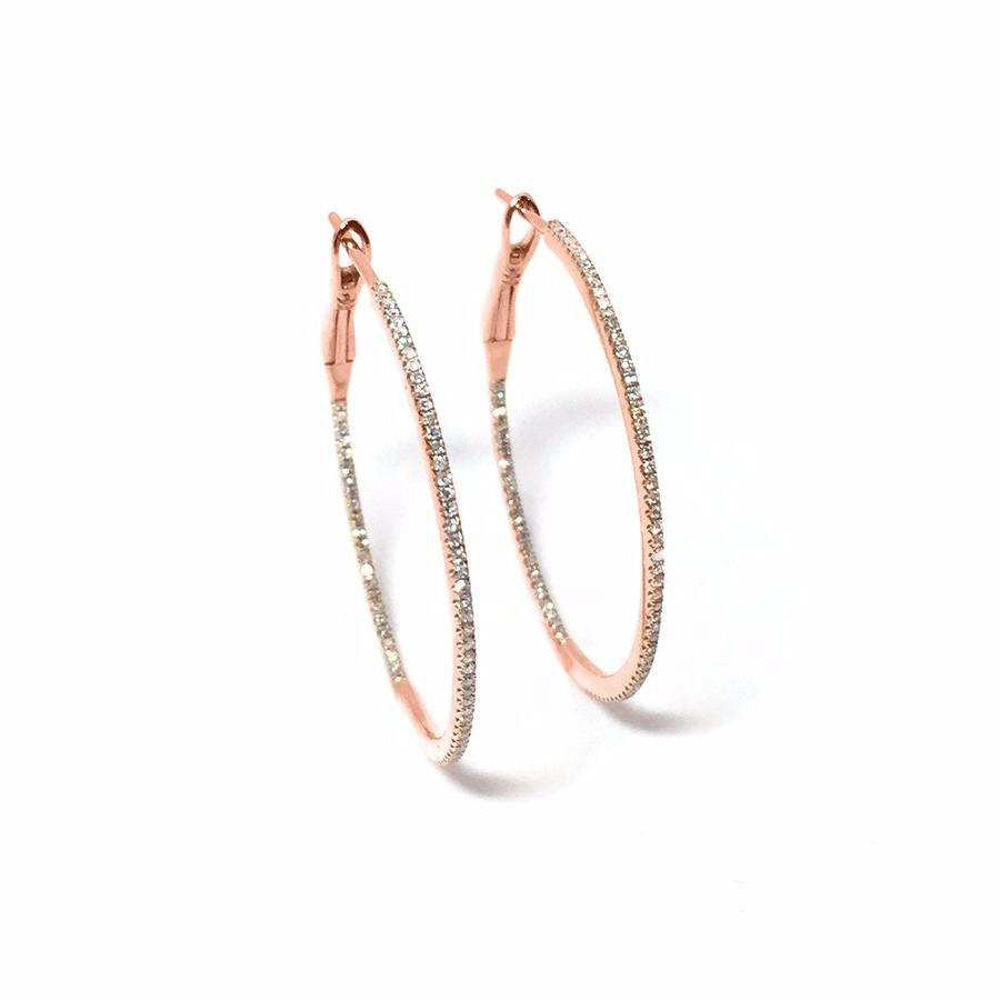 Large Diamond Round Hoop Earring