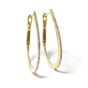 Small Diamond Tear Drop Hoop Earring