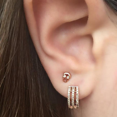 Diamond Mini Skull Earrings