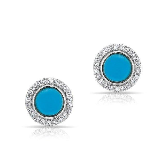 Diamond and Round Stone Stud Earrings