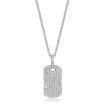Pavé Diamond Dog Tag Necklace
