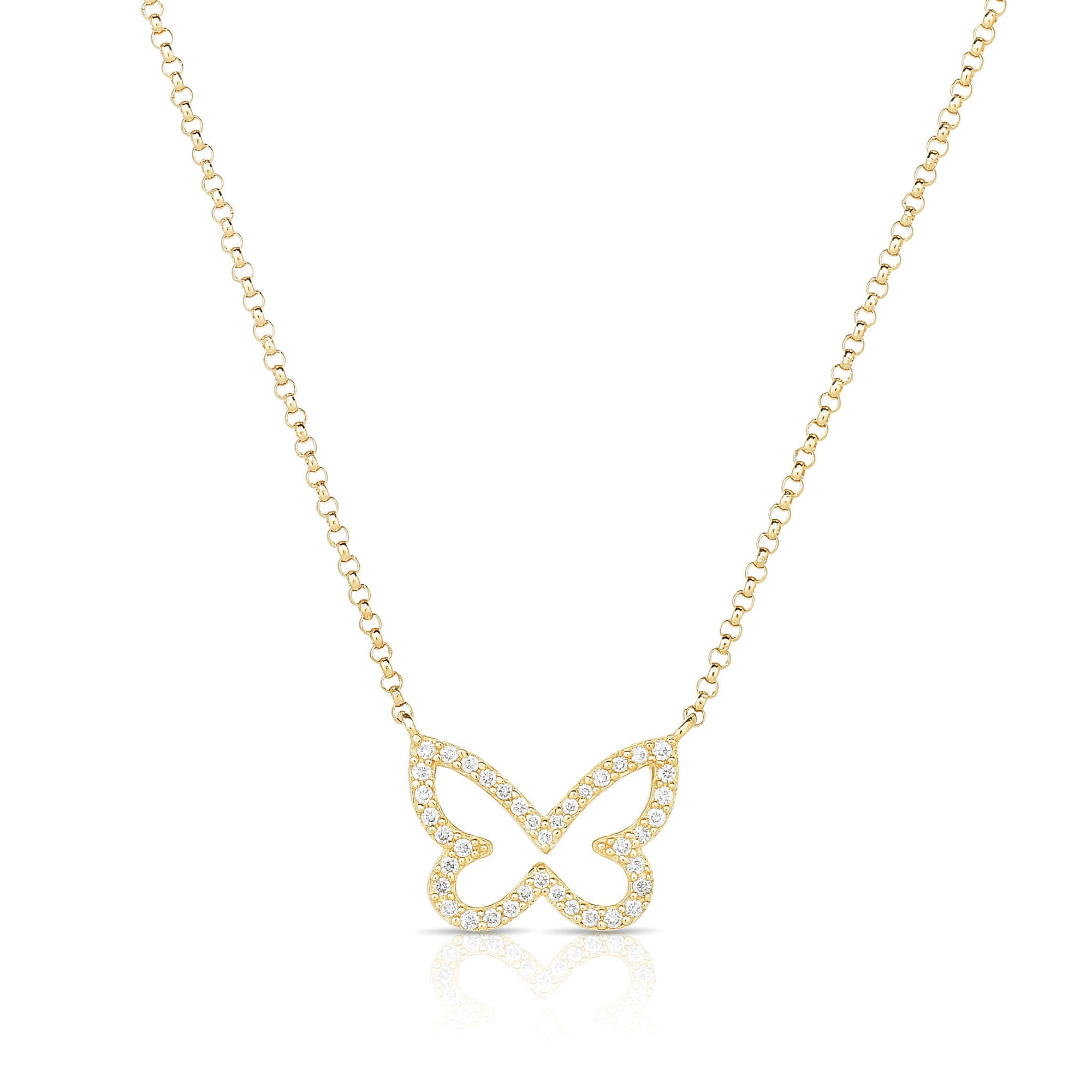 Small Diamond Open Butterfly Chain Necklace