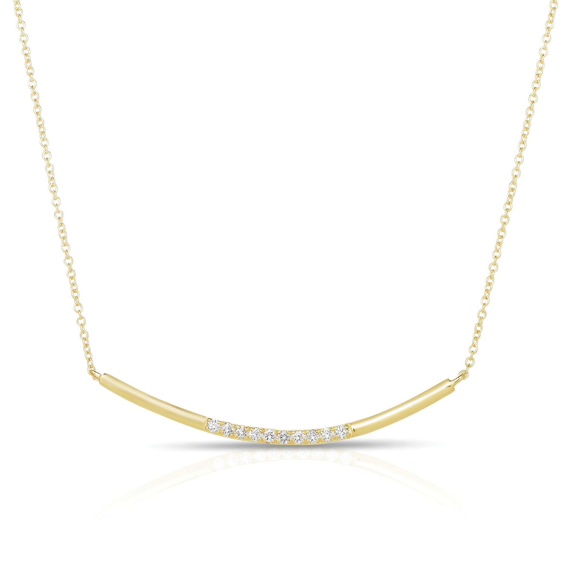 Curved Diamond And Gold Bar Necklace