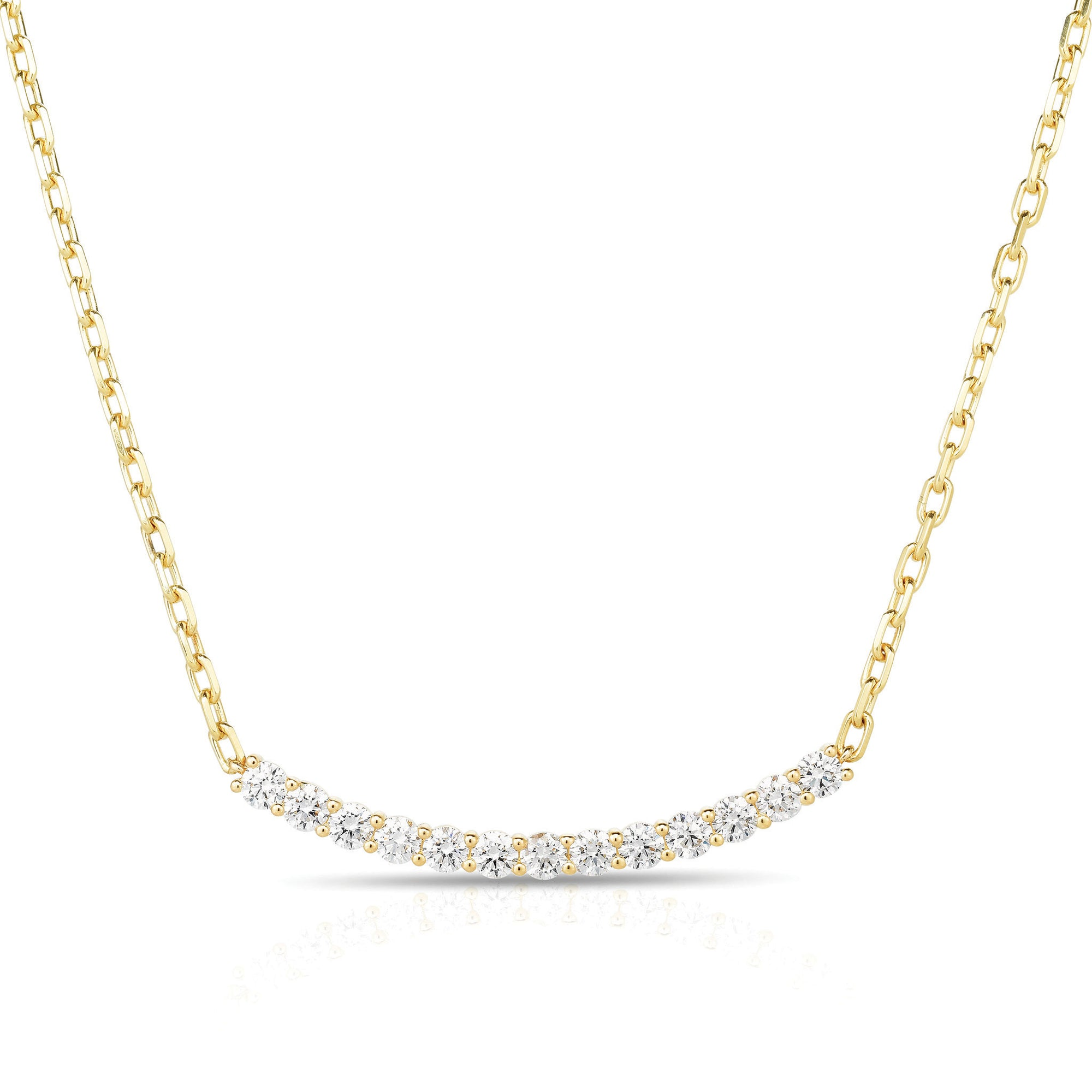 Diamond Curved Bar Chain Necklace
