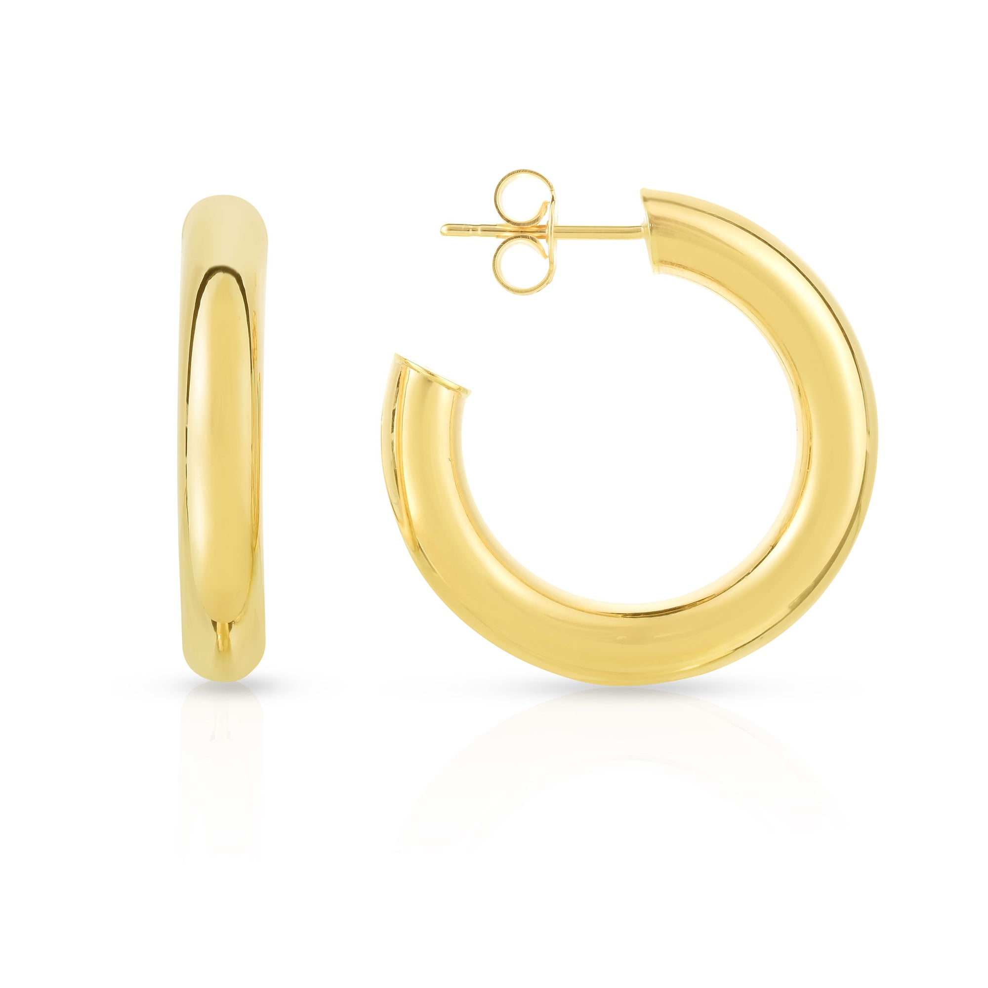 14K Gold Hollow Hoop Earring With A Post