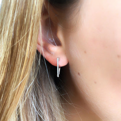 Diamond Triangle Hoop Earring