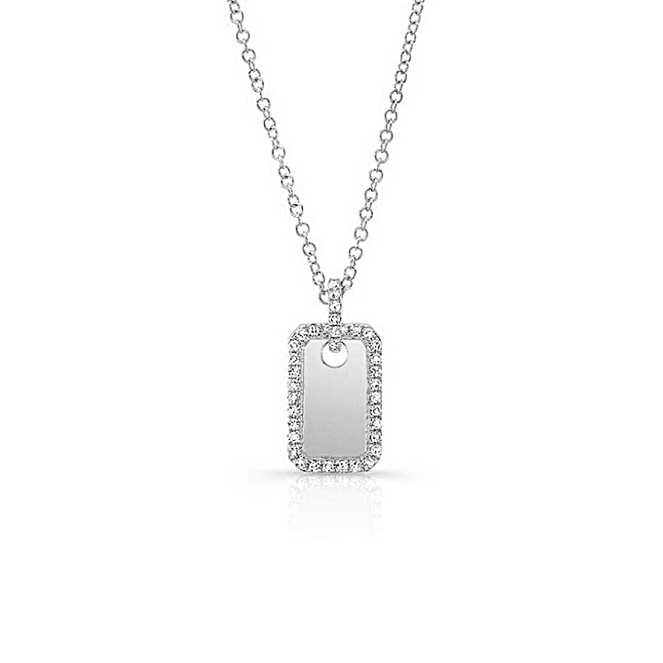 Diamond and Gold Small Dog Tag Necklace