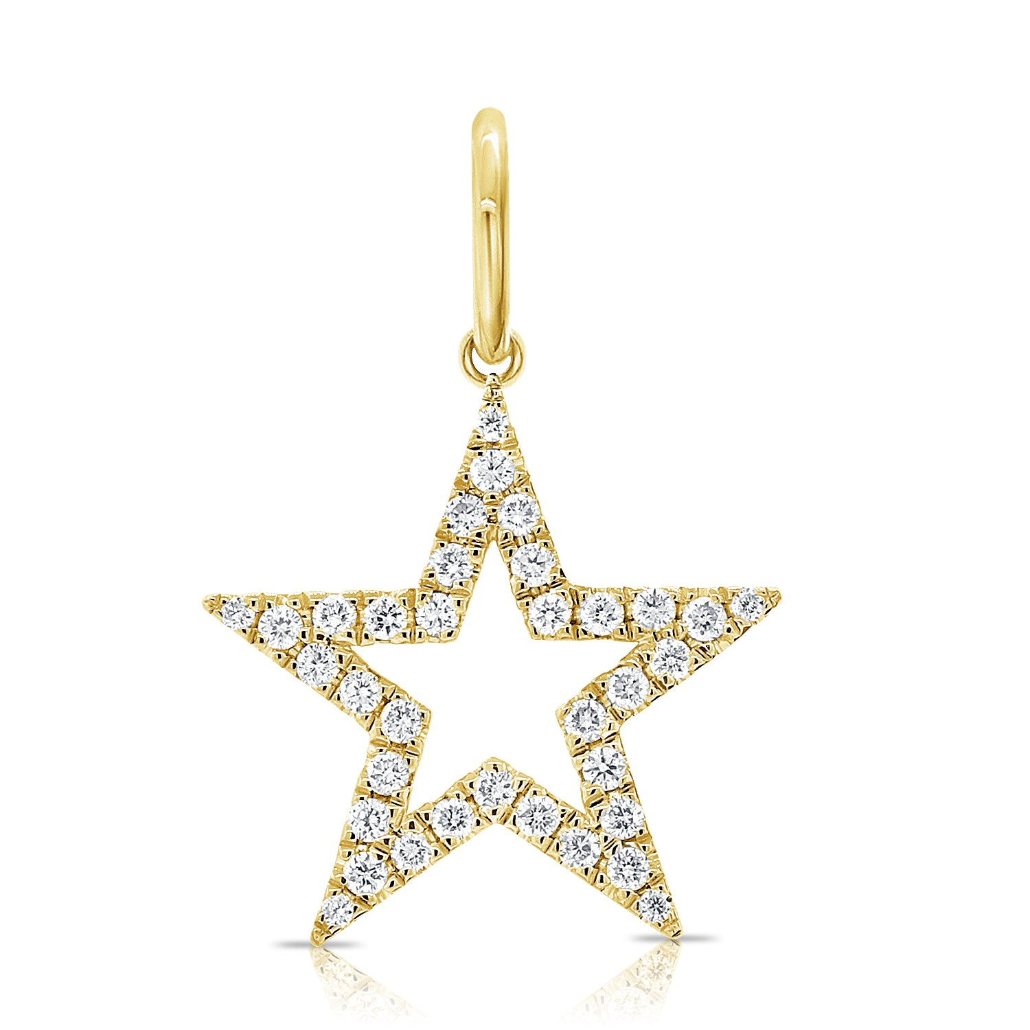 Small Diamond Open Star Charm