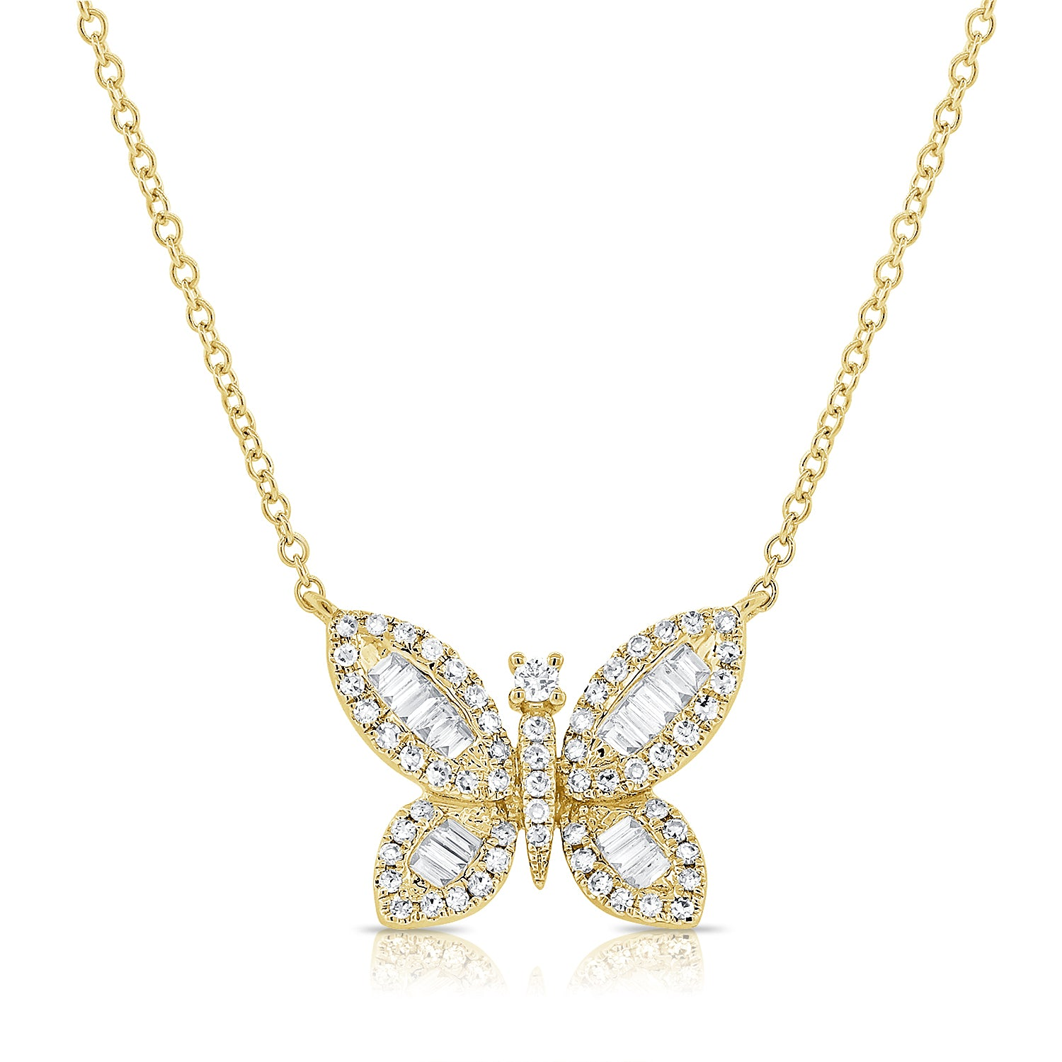 Butterfly Baguette Diamond Necklace