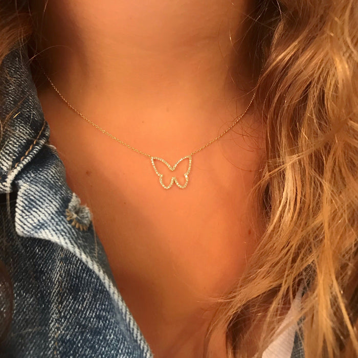 Diamond Open Small Butterfly Necklace