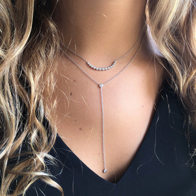 Gold And Diamond Bezel Lariat Necklace