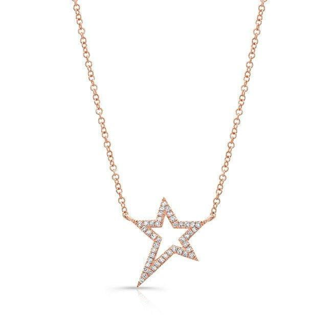Diamond Open Star Necklace