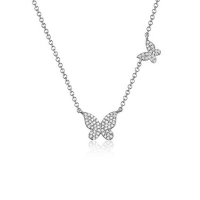 Diamond Two Butterfly Chain Necklace