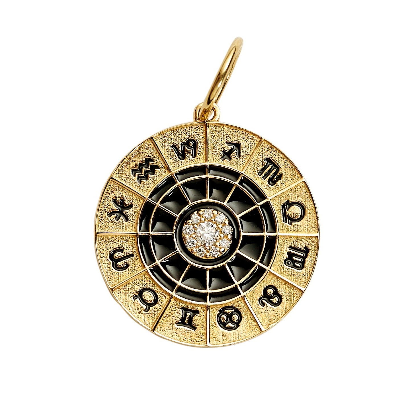 Gold Black Enamel And Diamond Astrological Charm