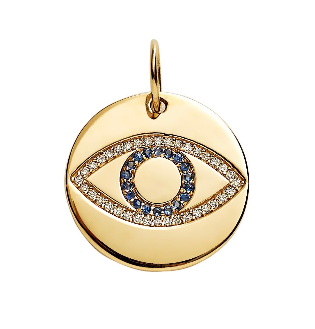 Diamond And Sapphire Evil Eye Disc Charm