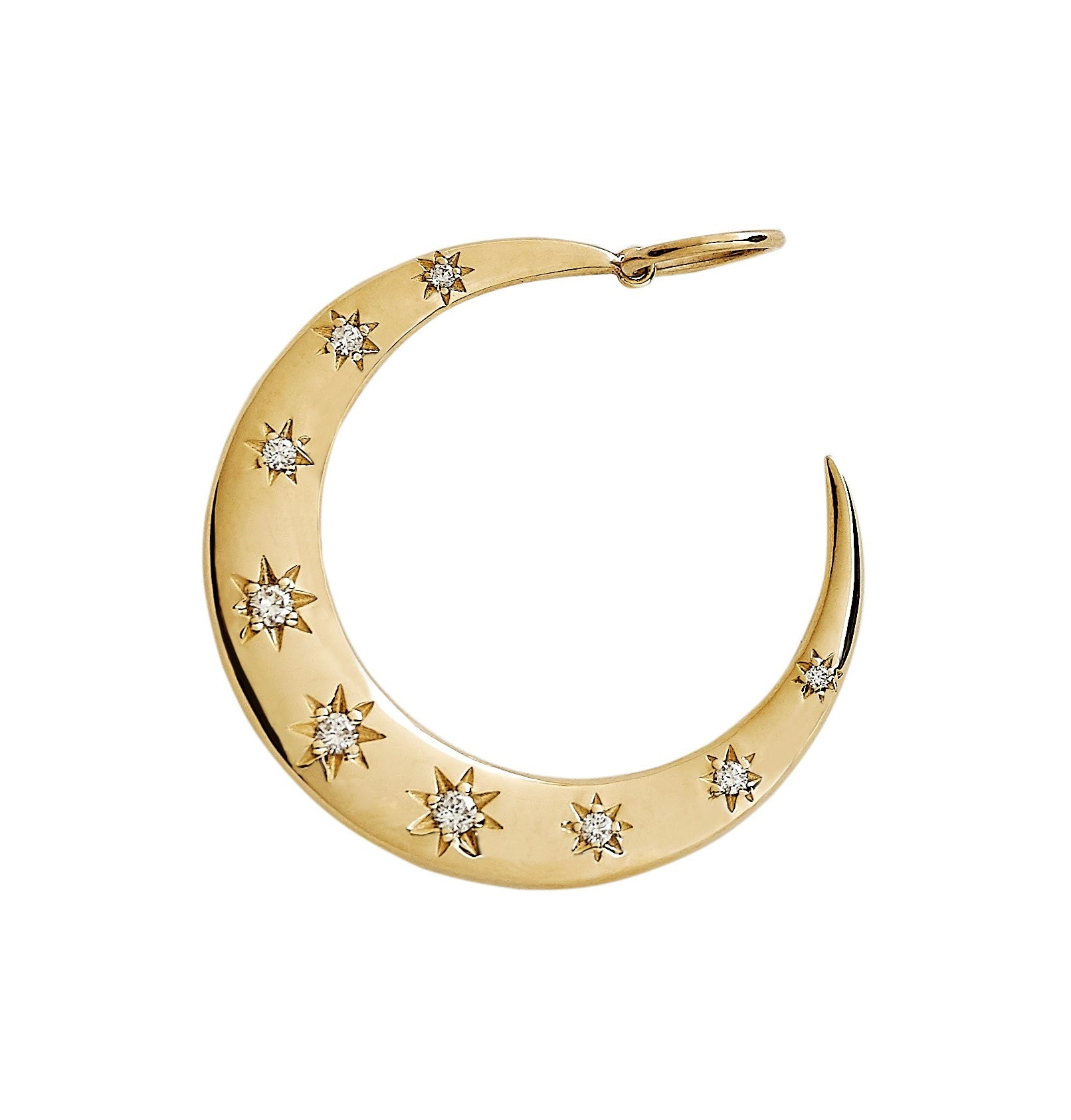 Gold And Scattered Diamond Crescent Moon Charm