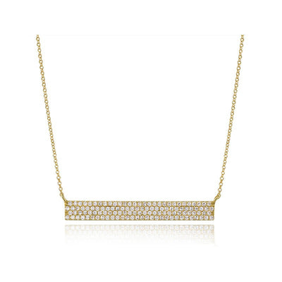 Wide Diamond Bar Necklace
