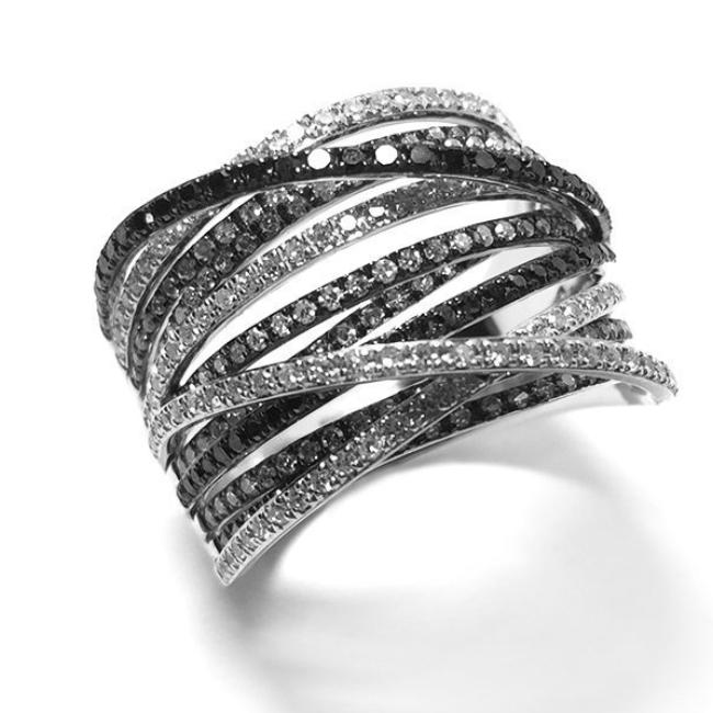 Black, White and Champagne Diamond Criss Cross Ring