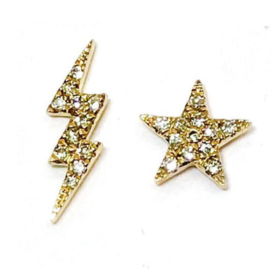 Diamond Star and Lightning Bolt Stud Earrings