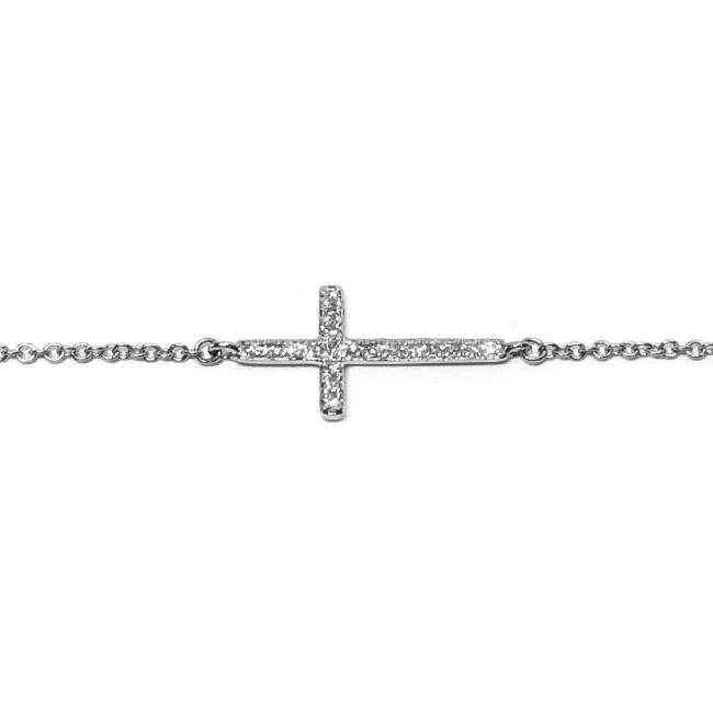 Cross Diamond Gold Chain Bracelet