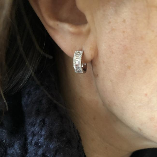 Diamond Round and Baguette Huggie Earring