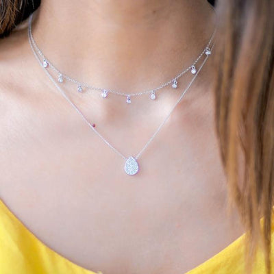 Nine Diamond Bezel Drop Choker Necklace