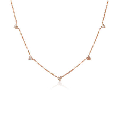Diamond Five Heart Necklace