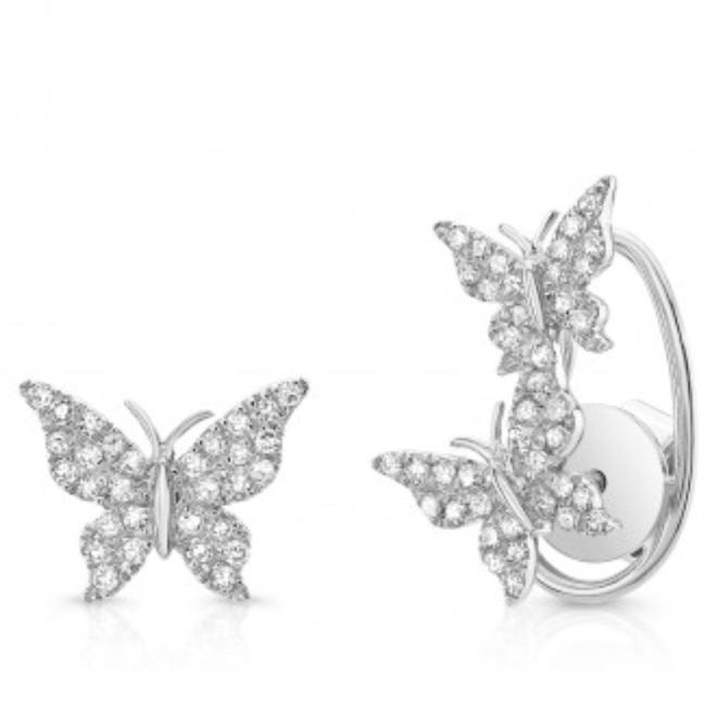 Three Butterfly Diamond Earring