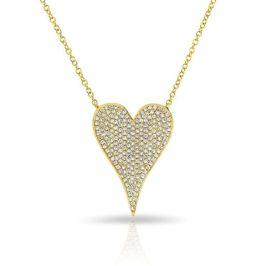 Pavé Diamond Elongated Heart Necklace