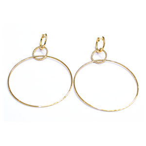 Gold And Diamond Circular Drop Earring