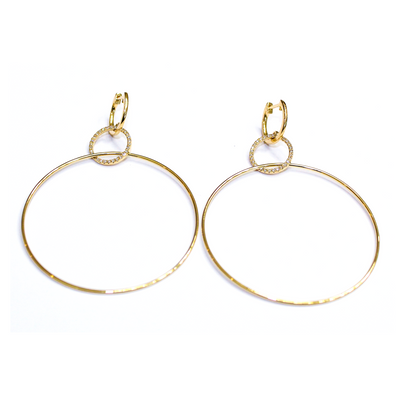 Large Gold And Diamond Circular Drop Earring