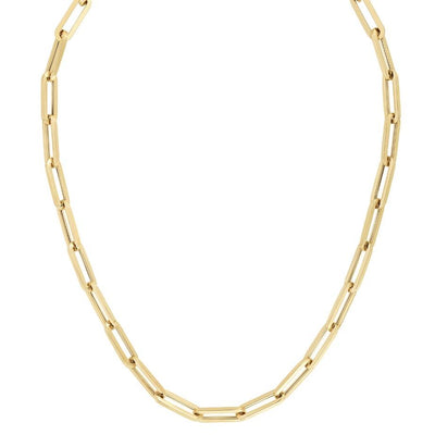 Large 14k Gold Paper Clip Chain Necklace