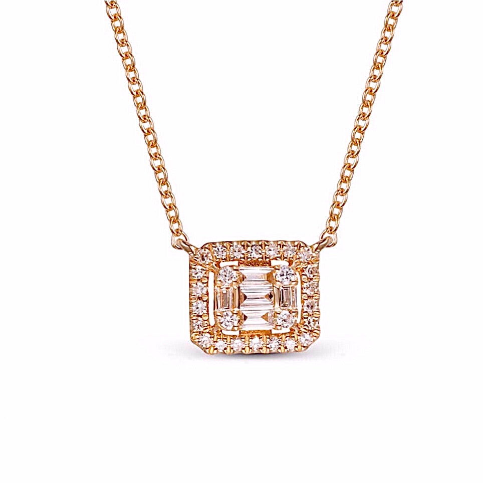 Diamond Baguette Rectangular Necklace