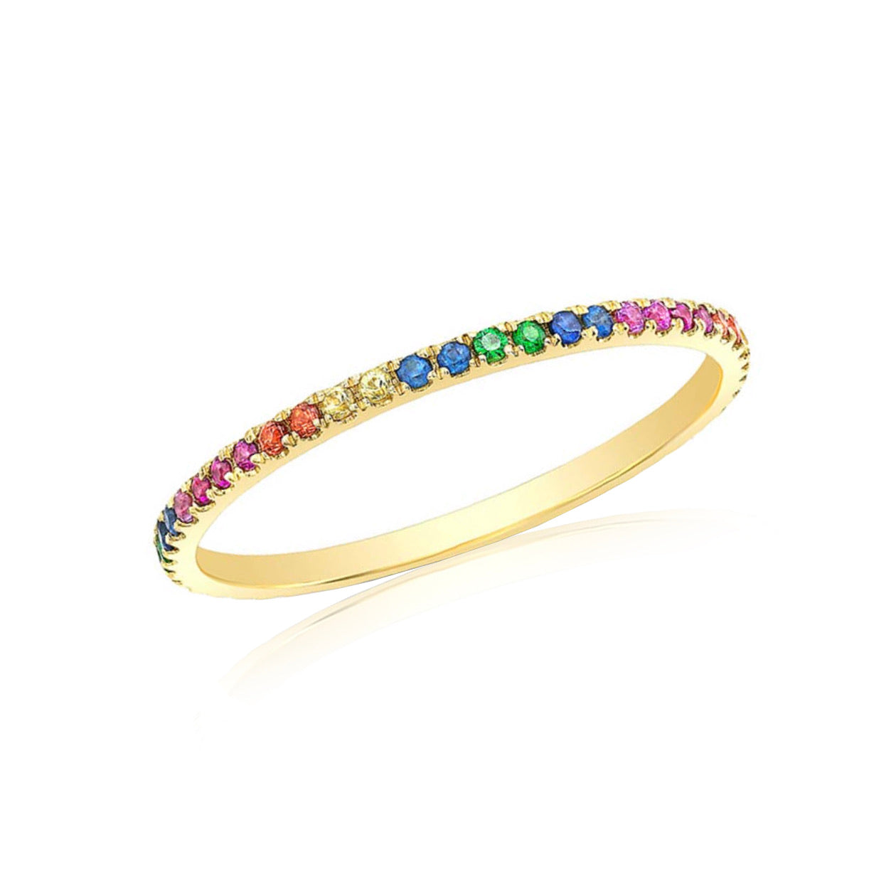 Rainbow Gold and Multi Color Stone Eternity Ring