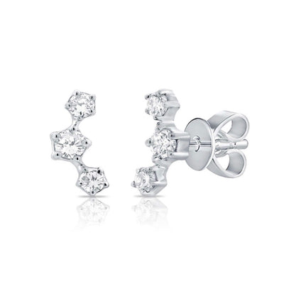 Three Diamond Prong Earring