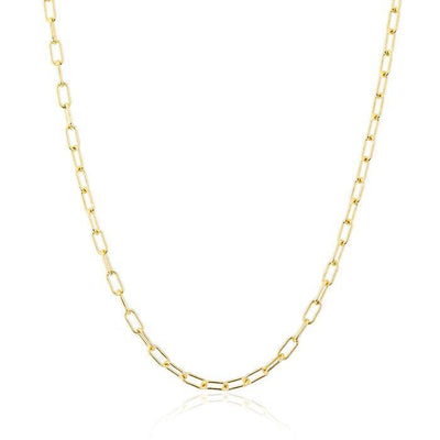 Small 14k Gold Paper Clip Chain Necklace