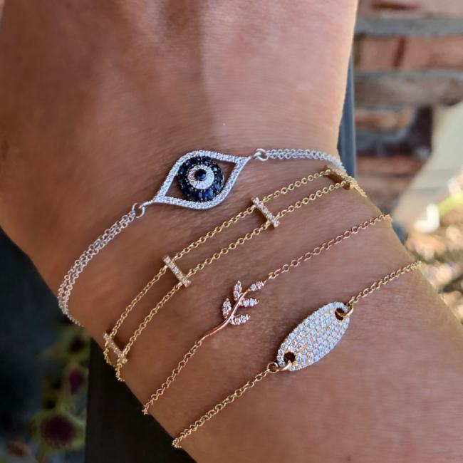 Evil Eye Diamond And Sapphire Chain Bracelet