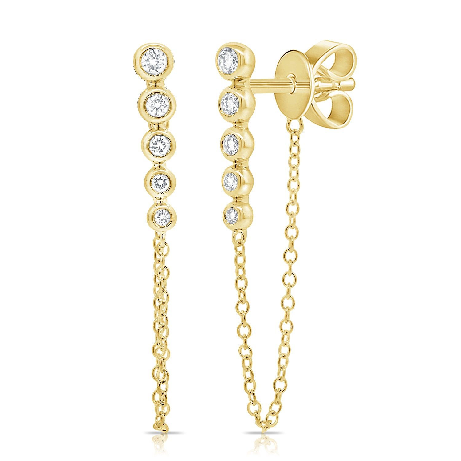 Diamond Five Bezel Chain Earring
