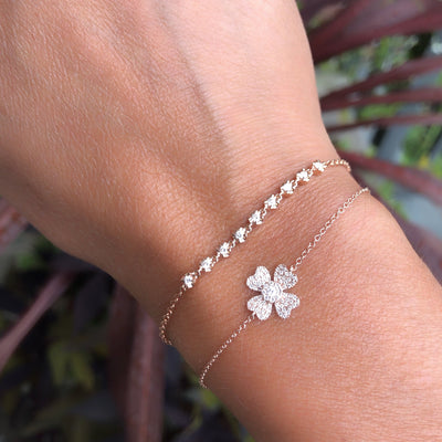 Diamond Four Leaf Clover Chain Bracelet