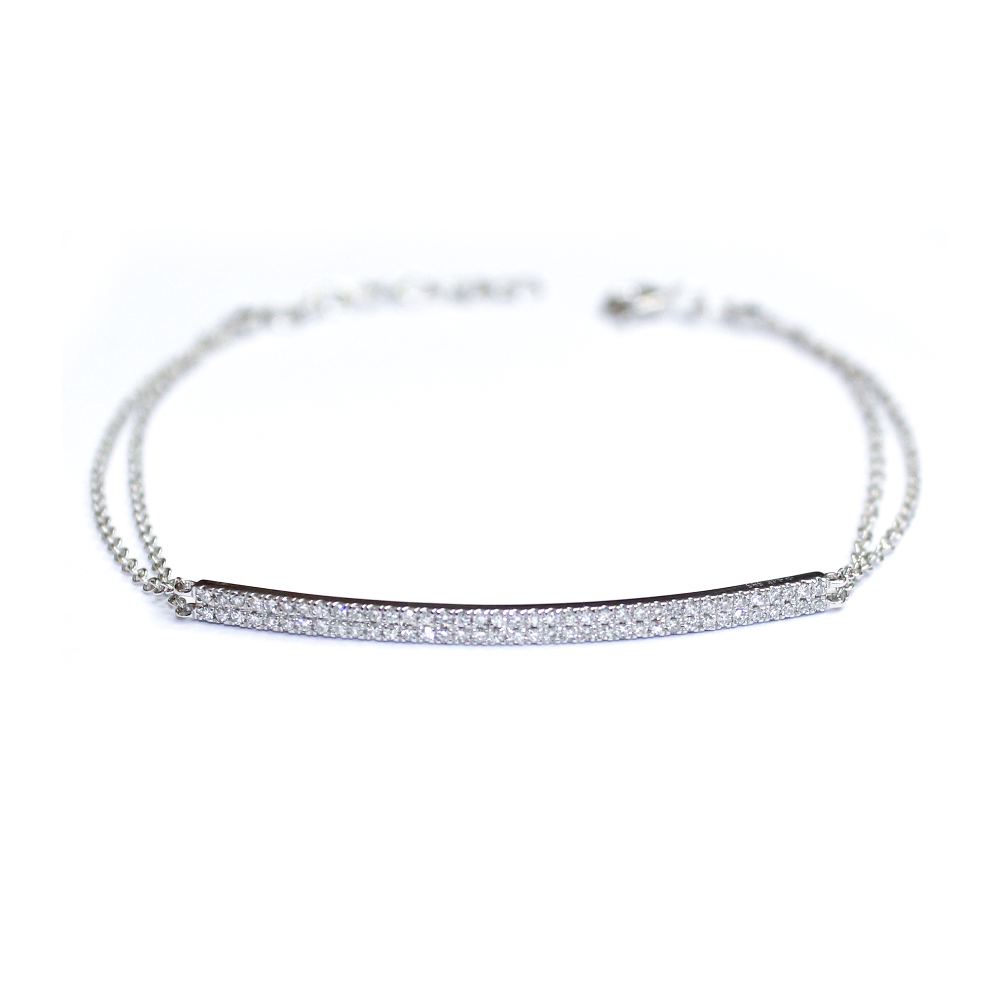 Diamond Two Row Bar Double Chain Bracelet