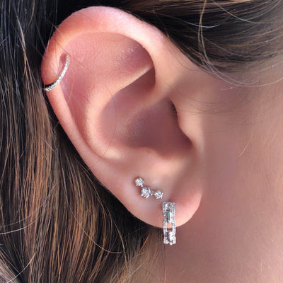 Diamond Chain Link Huggie Earring