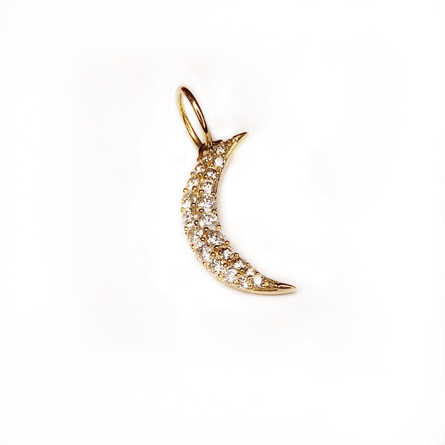 Diamond Small Moon Charm
