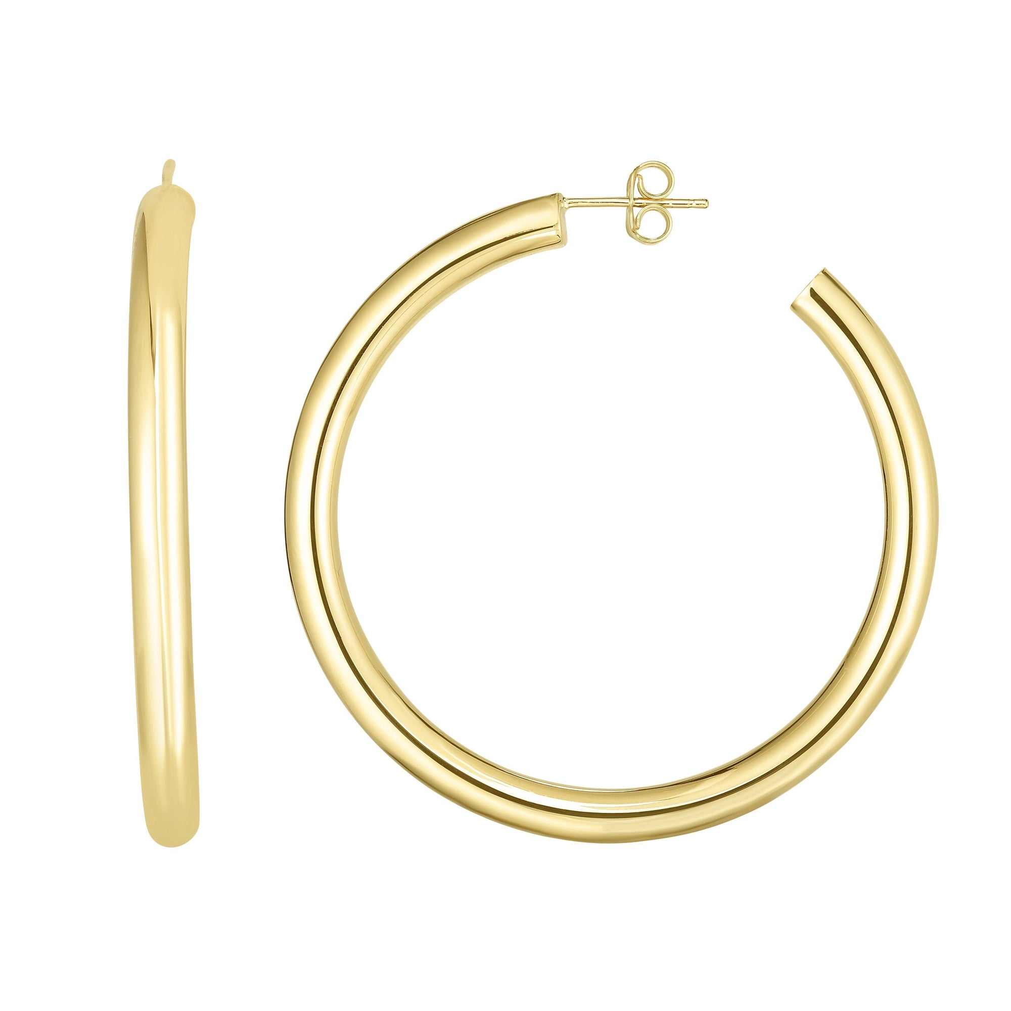 14k Hollow Hoop Earring With A Post