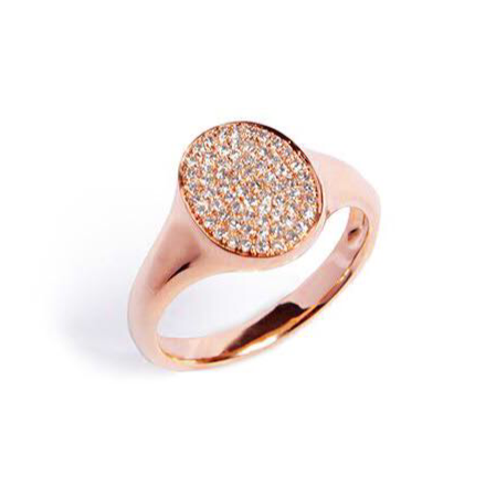Oval Diamond Pave Gold Ring