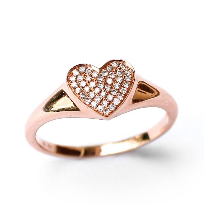 Diamond Heart Pave Ring