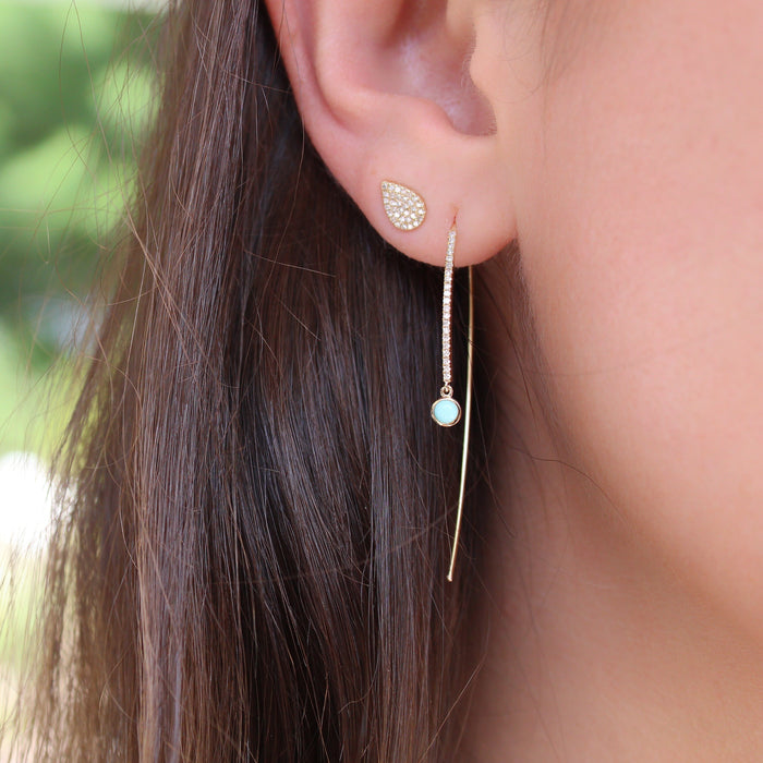 Diamond Long Stick With Turquoise Drop Earring